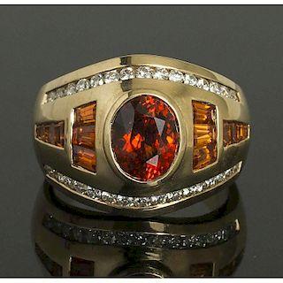 Hessonite Garnet Diamond Gold RIng