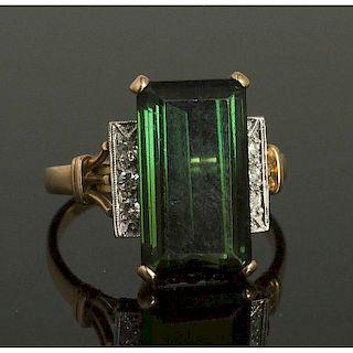 Green Tourmaline Diamond 14k Ring