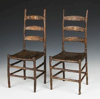 Pair of Bronze Chair Sculptures