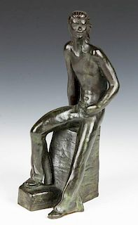 E. Montiel (20th c.) Bronze Figure Sculpture