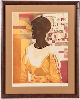 "Ernest Crichlow (1914-2005) ""Young Woman in Yellow Dress"""