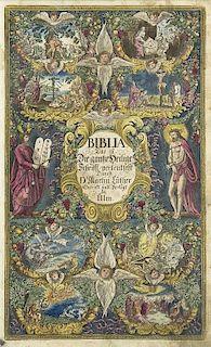 Martin Luther Biblia. Das ist die ganze Heilige Schrift. Mit 1 gest. Portrait, 1 gest. und kolorierten Titel, 133 kolorierten