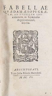 (Golius, Theophilus) Educationis puerilis linguae Graecae pars prima, pro Schola Argentinensi. Mit Holzschnitt Titelvignette.