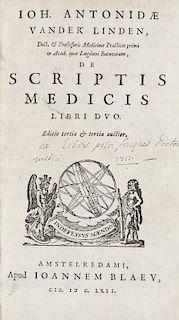 Linden, Joh. Antonides van der De scriptis medicis libri duo. Editio tertia & tertia auctior. Mit TVignette. Amsterdam, J. Bl