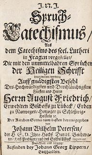 Petersen, Johann Wilhelm Spruch-Catechismus aus dem Catechismo des seel. Lutheri in Fragen vorgestellet ... Frankfurt u. Leip