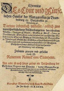 Reineck, Reinerus Chronica Des Chur vnd Fuerstlichen Hauses der Marggraffen zu Brandenburg etc. Burggraffen zu Noernberg etc.