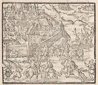 Isselt, Michaelis Ab De Bello Coloniensi, libri quatuor. Mit Holzschnitt-Titelvignette und 9 Holzschnittansichten. Koeln, Kem