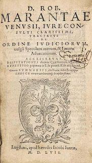 Maranta, Robertus Tractatus de ordine iudiciorum, vulgo Speculum aureum, & Lumen aduocatorum (...). Mit Holzschnittdruckermar