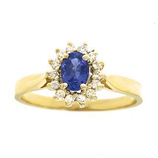 Sapphire & Diamond Ring, 14k, American