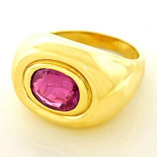 Modernist Pink Tourmaline Ring, 18k, c1970s, American