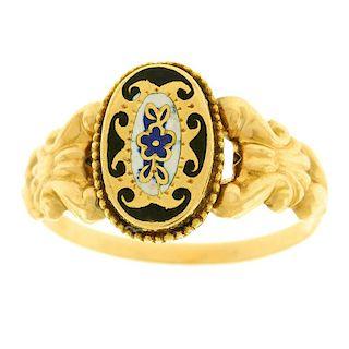 Antique Folkloric Swiss Enamel Ring, 18k