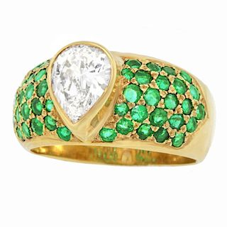 1.50ct Diamond and Pave Emerald Ring, 18k, Dated, 1971, London
