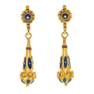 Gold and Enamel Dangle Earrings, 18k