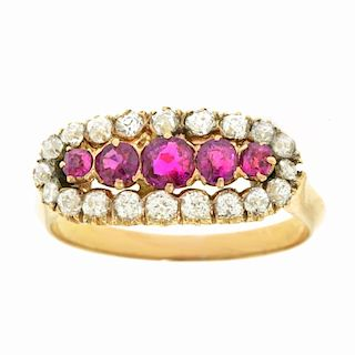 Antique Ruby & Diamond Ring, 18k, c1900