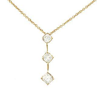 Three-Stone Diamond Pendant and Chain, 14k