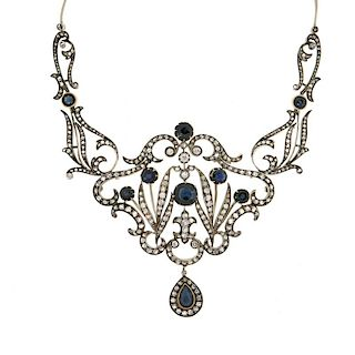 Antique French Diamond and Sapphire Necklace, Silver over 18k, c1870-1880s