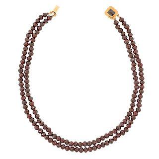 Antique Garnet Necklace, 14k, Netherlands, c1870s
