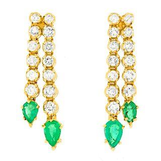 Diamond & Emerald Chandelier Earrings, 14k, c1960s