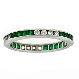 Emerald & Diamond Eternity Band, Platinum