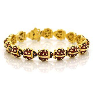 Hidalgo Enamel Ladybug Bracelet, 18k, American
