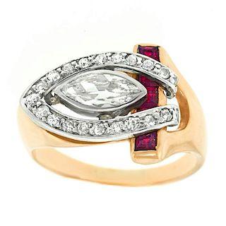 Diamond and Ruby Retro Ring, 14k and Platinum, c1940-50s, American