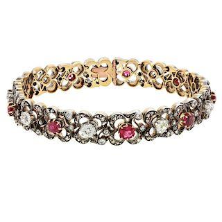 Antique Silver over 18k Gold, Diamond, & Ruby Bracelet