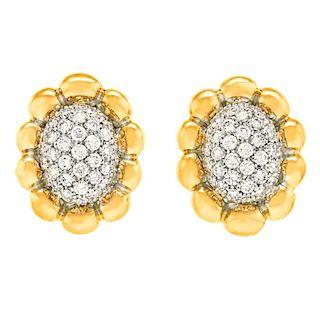 Diamond Pave Earrings, 2.63 carats, 18k, Italy