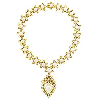 Stunning Pearl and Diamond Necklace, 18.0 carats, 14k c1960s