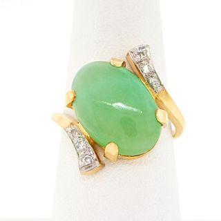 Jade and Diamond Ring, 14k