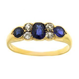 Antique Sapphire and Diamond Ring, 18k