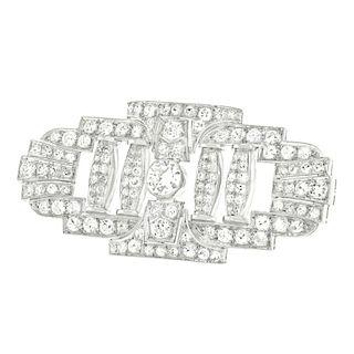 Art Deco Diamond Brooch, c1920s, Platinum, American