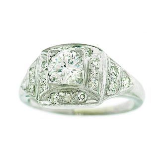 Art Deco Diamond Ring, Platinum, c1930s, American