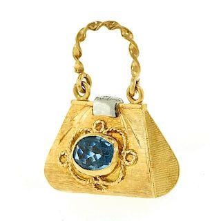 Gold Purse Charm/Pendant, 18k, c1950-60s, Italy