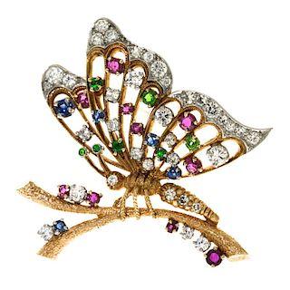 Diamond, Ruby, Sapphire & Emerald Butterfly Brooch, 18k