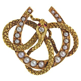 Antique Snake and Horseshoe Brooch, 14k, American