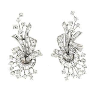 Elegant Fifties Diamond Earrings, Platinum