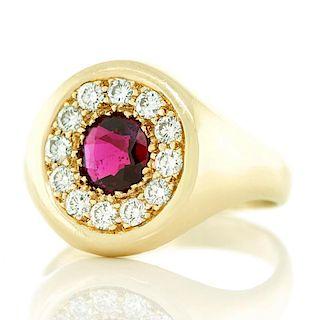 Wordley, Allsopp & Bliss Ruby & Diamond Ring, 14k, c1950-60s