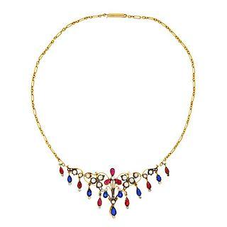 Antique Sapphire, Ruby, Diamond & Pearl Necklace, 14k