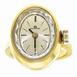 Bucherer Watch Ring, 18k, c1960s, Swiss