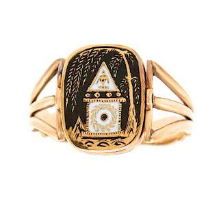 Antique Flip-over Ring, Pearl & Enamel