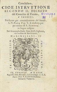 Catechismo, cioe Istruttione secondo il decreto del Concilio di Trento... Mit 1 Holzschnitt Druckermarke., Venedig, Aldus Man