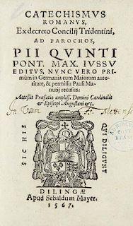 Catechismus Romanus, ec decreto Conciliij Tridentini... Mit Wappenholzschnitt auf dem Titel und 2 figuerlichen Holzschnittini