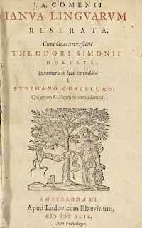 Comenius, Johann AmosIanua linguarum reserata, Cum Graeca versione Th. Simonii Holsati, Innumeris in locis emendata a St. Cu