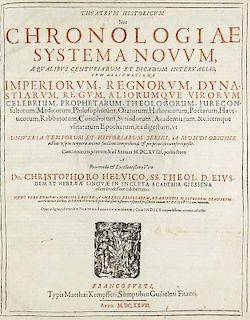 Helwig, ChristophTheatrum historicum sive chronologiae systema novum.... Mit Titelholzschnitt, Portraet und Holzschnitt-Buch