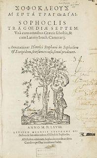 SophoklesHai hepta tragodiai. Tragoediae septem. Una cum omnibus Graecis scholiis, & cum Latinis Ioach. Camerarii. Annotatio