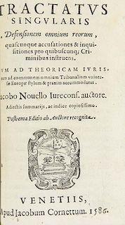 Novellus, JacobusTractatus criminalis, utilis necessarius tam iudicibus meleficiorum ... Mit Holzschnitt-Druckermarke auf Ti