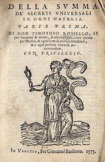 Rosello, TimotheoDella Summa de secreti universali in ogni materia. 2 Tle. in 1 Bd. Mit 4 Holzschnitt-Druckermarken u. zahlr