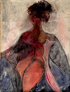 Avinash Chandra (Indian / British 1931-1991) oil on canvas painting nude