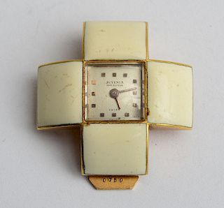Juvenia 18K Gold and White Enamel Watch Clip
