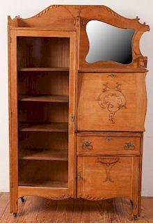 Victorian Oak Side by Side Secretary Bookcase
